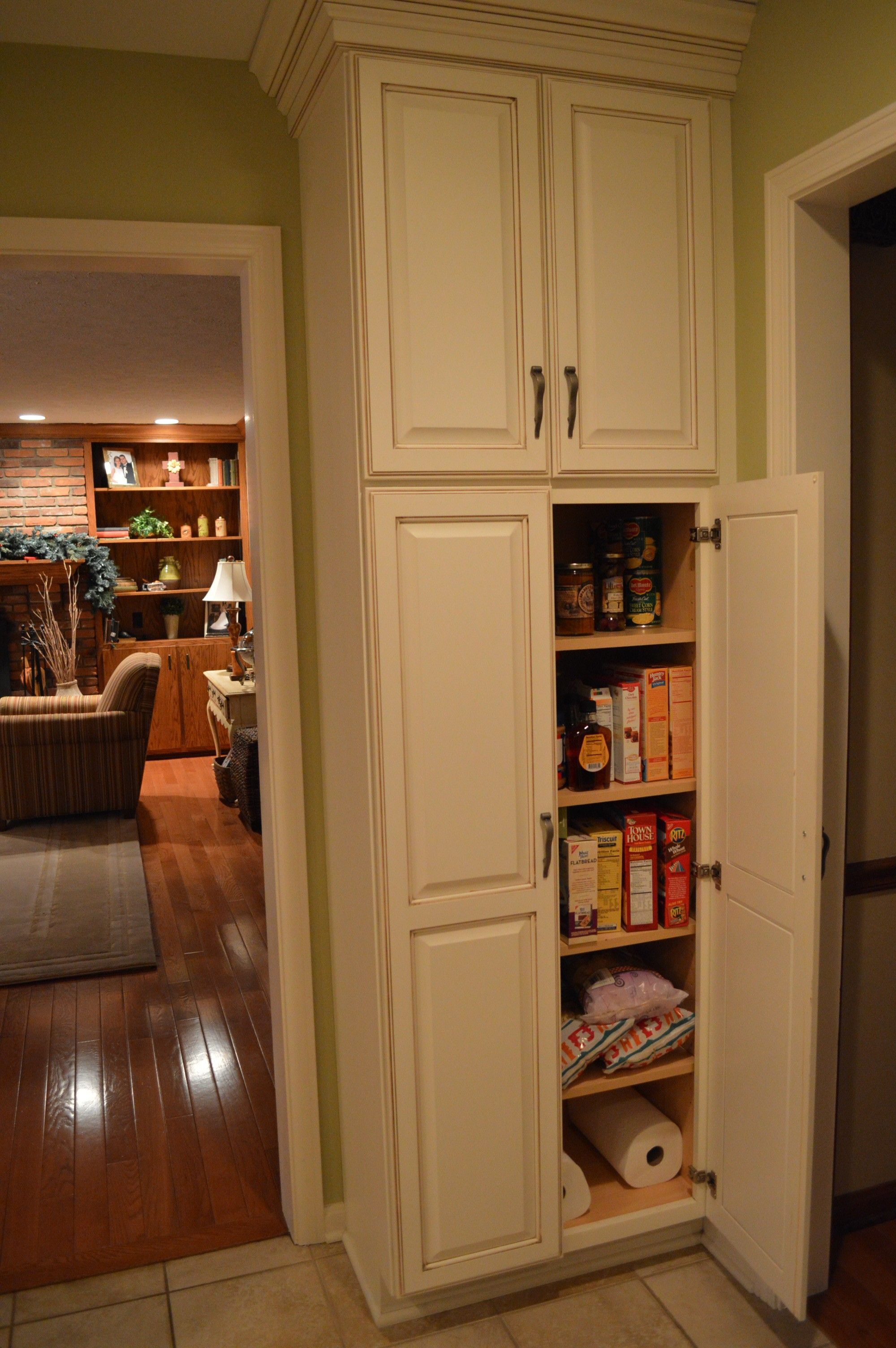 F White Wooden Tall Narrow Pantry Cabinet With Maple Wood Shelves for proportions 2000 X 3008