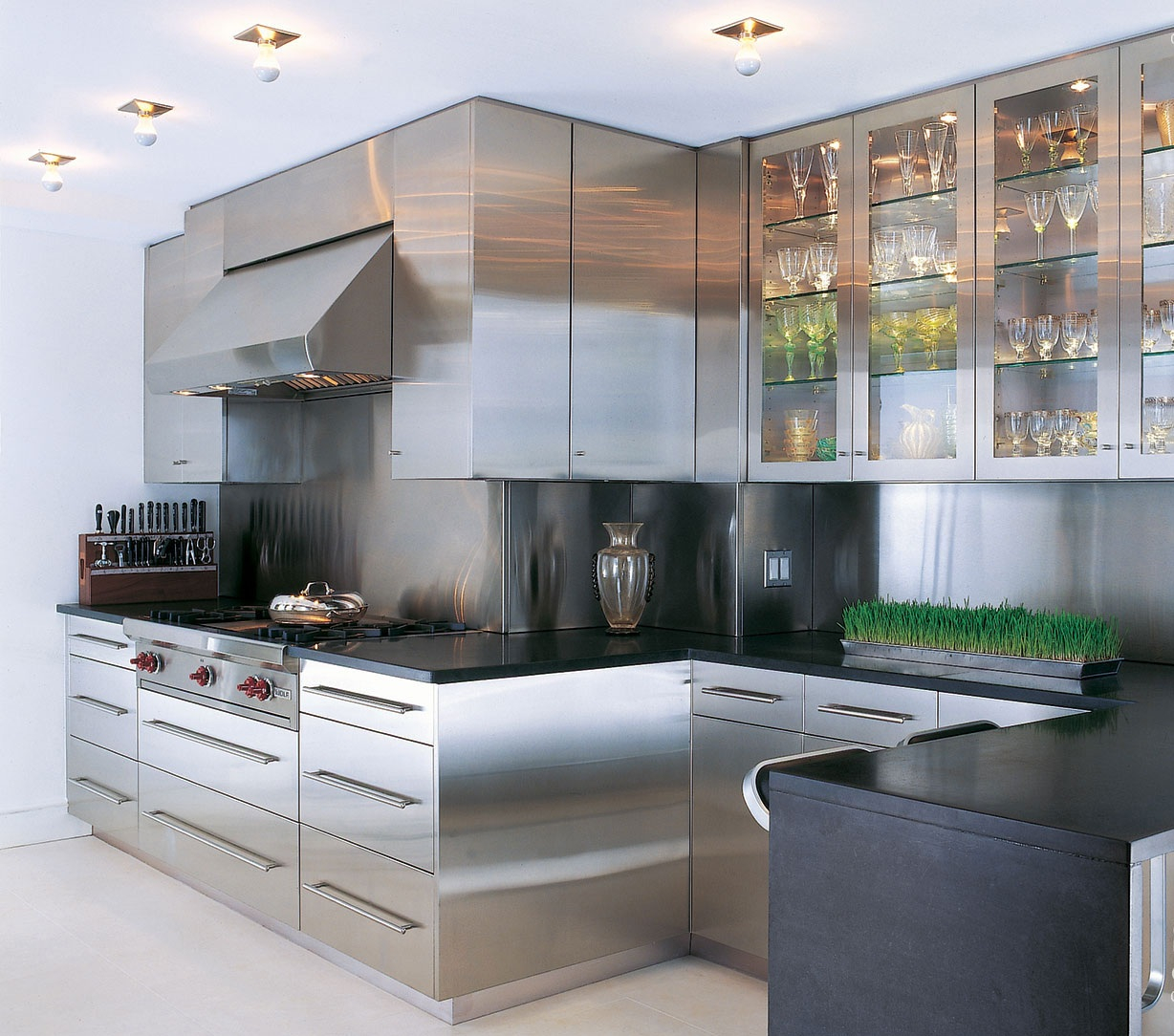 Stainless Steel Kitchen Cabinets With Glass Doors • Kitchen ...