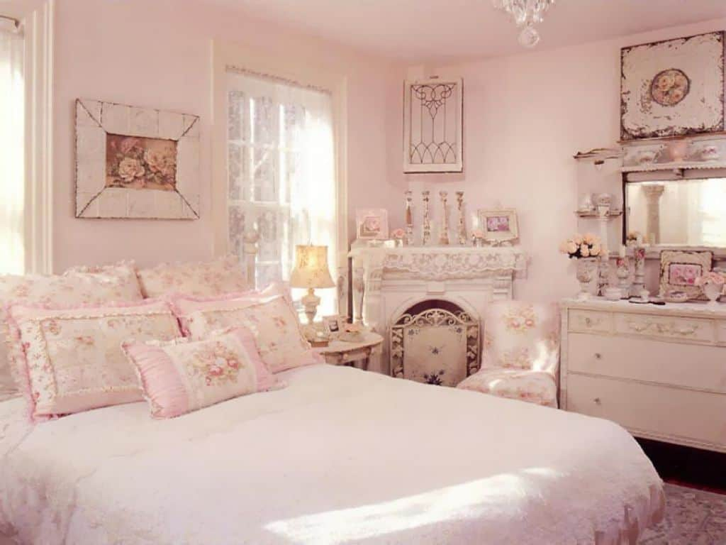 Pretty Shab Chic Bedroom With Pale Pink Wall Colors And Vintage throughout sizing 1024 X 768
