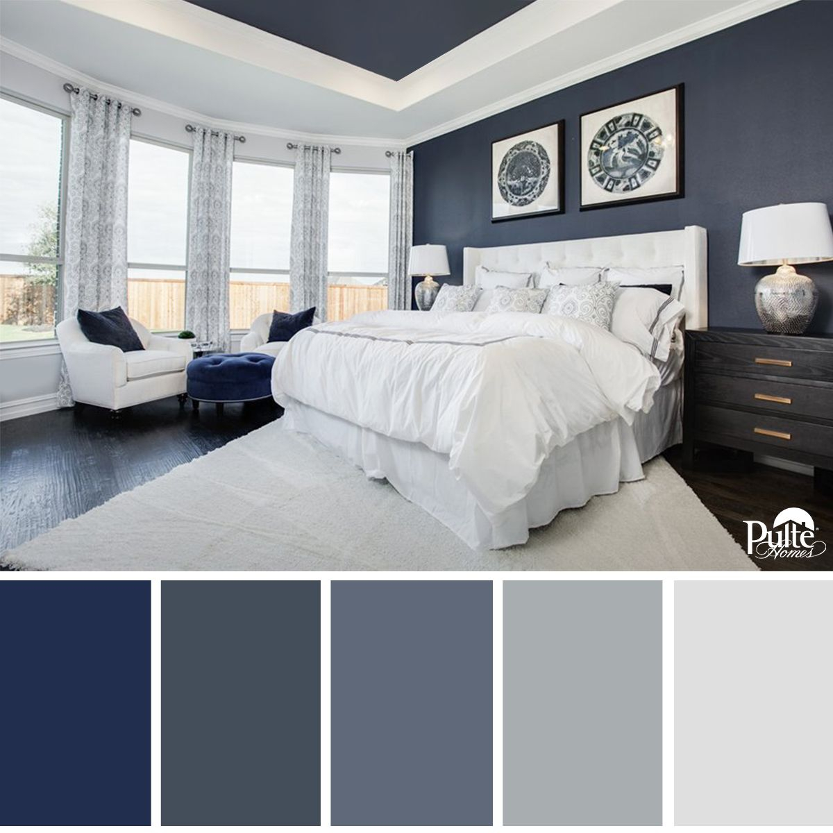 This Bedroom Design Has The Right Idea The Rich Blue Color Palette intended for measurements 1200 X 1200