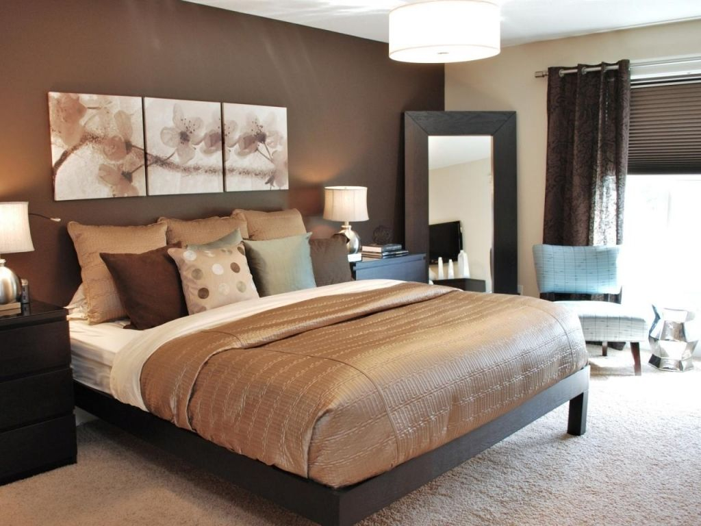 Gorgeous Chocolate Brown Master Bedroom With Dark Storage in measurements 1024 X 768