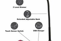 Tw Lighting Ivy 40bk Ivy Led Usb Port 3 Way Touch Switch Desk Lamp Black for proportions 1000 X 1000