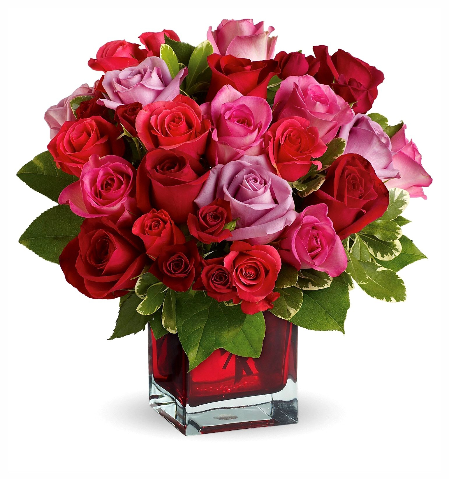 001 A Beautiful 50 Mix Color Roses Arrangement In A Plain Color Glass Vase within size 1541 X 1646