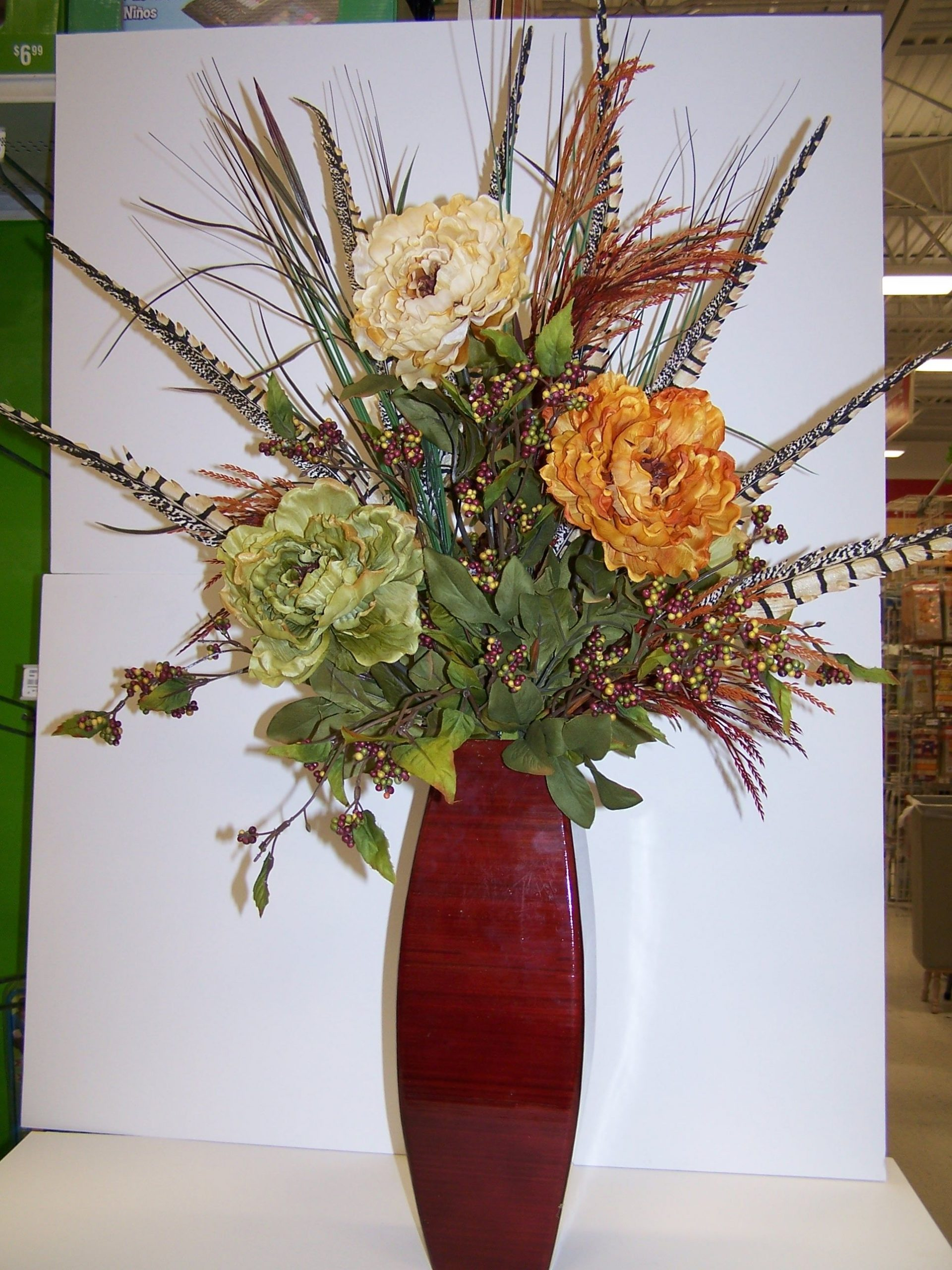 35 Ft Tall Artificial Feathers And Peonies Tall Vase intended for sizing 1932 X 2576