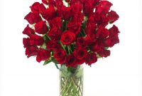 50 Red Roses In A Glass Vase in proportions 1104 X 1104