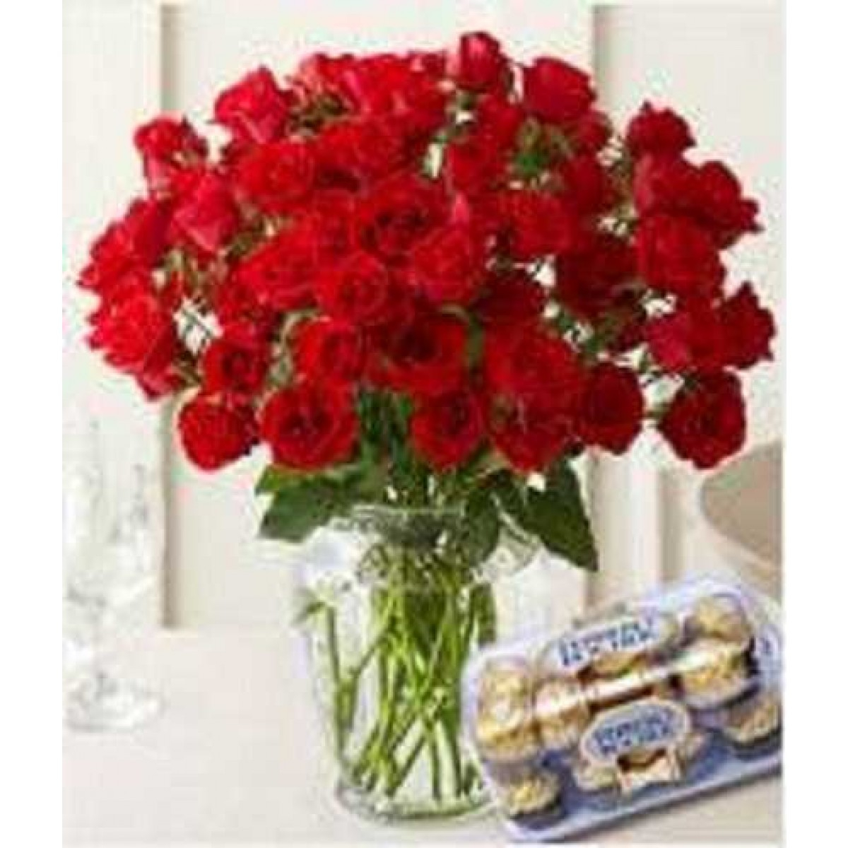 50 Red Roses In Glass Vase With 16 Pcs Ferrero Rocher Chocolate intended for proportions 1200 X 1200