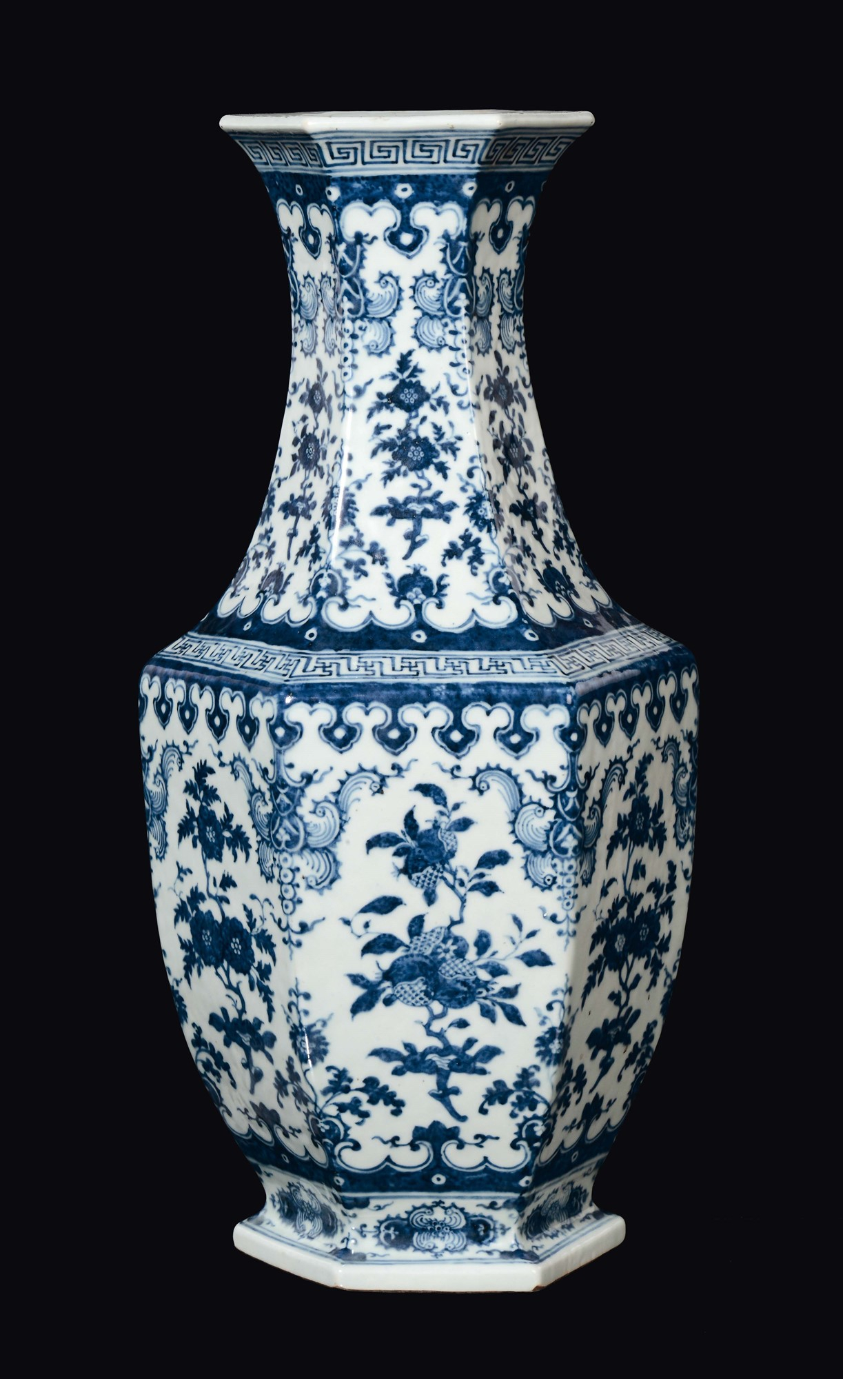 A Large Vase With A Hexagonal Base In Blue And White for sizing 1223 X 2000
