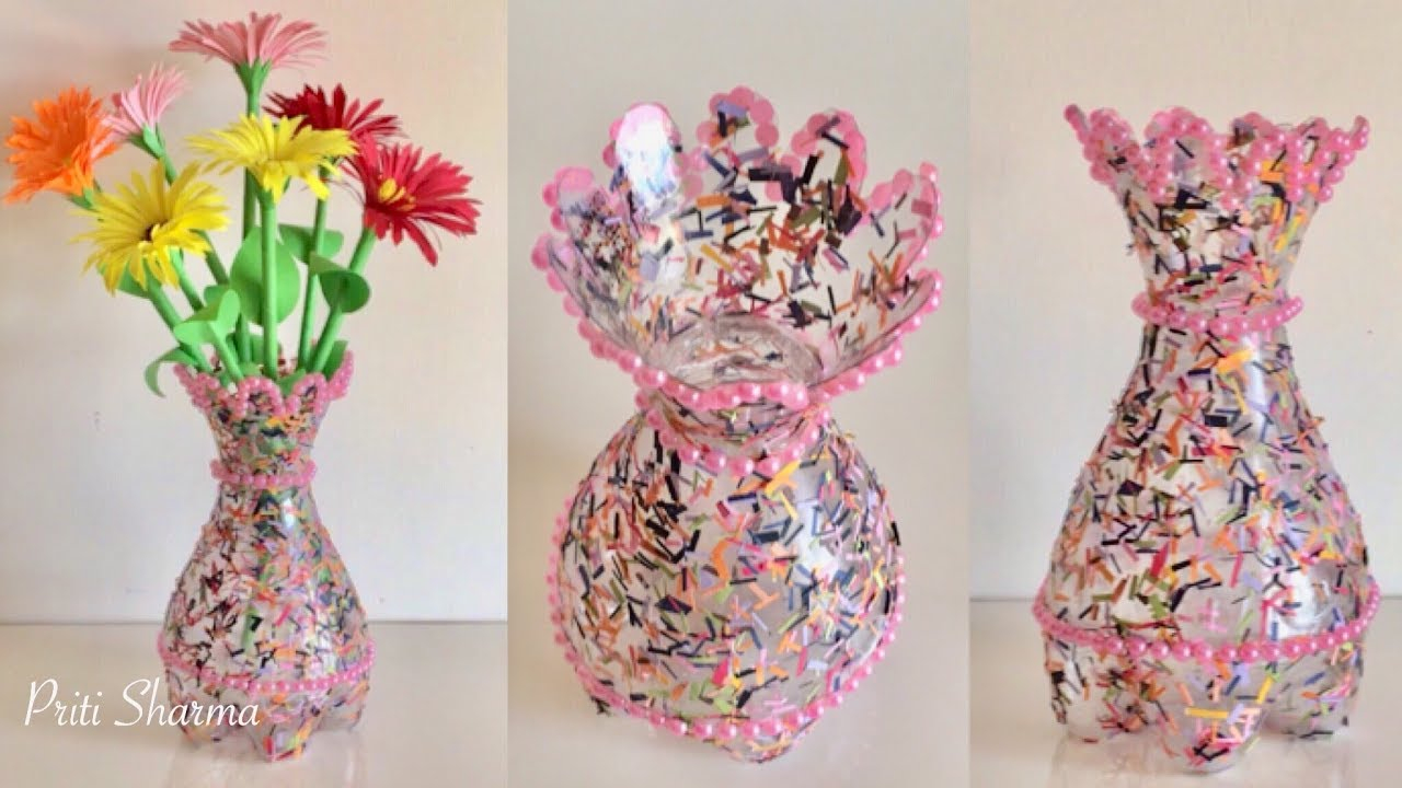 Best Out Of Waste Plastic Bottle Flower Vase Diy Plastic Bottle Craft Idea Priti Sharma in sizing 1280 X 720