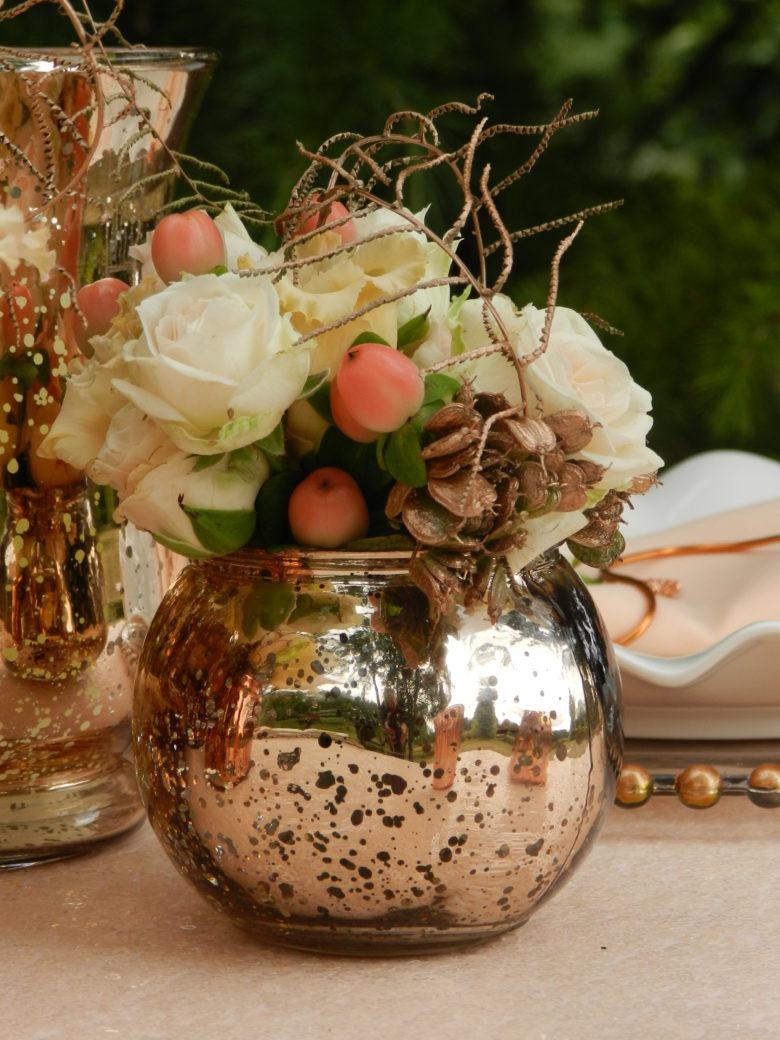 Copper Rose Gold Bubble Vase Miniature Wedding Day Hire in measurements 780 X 1040