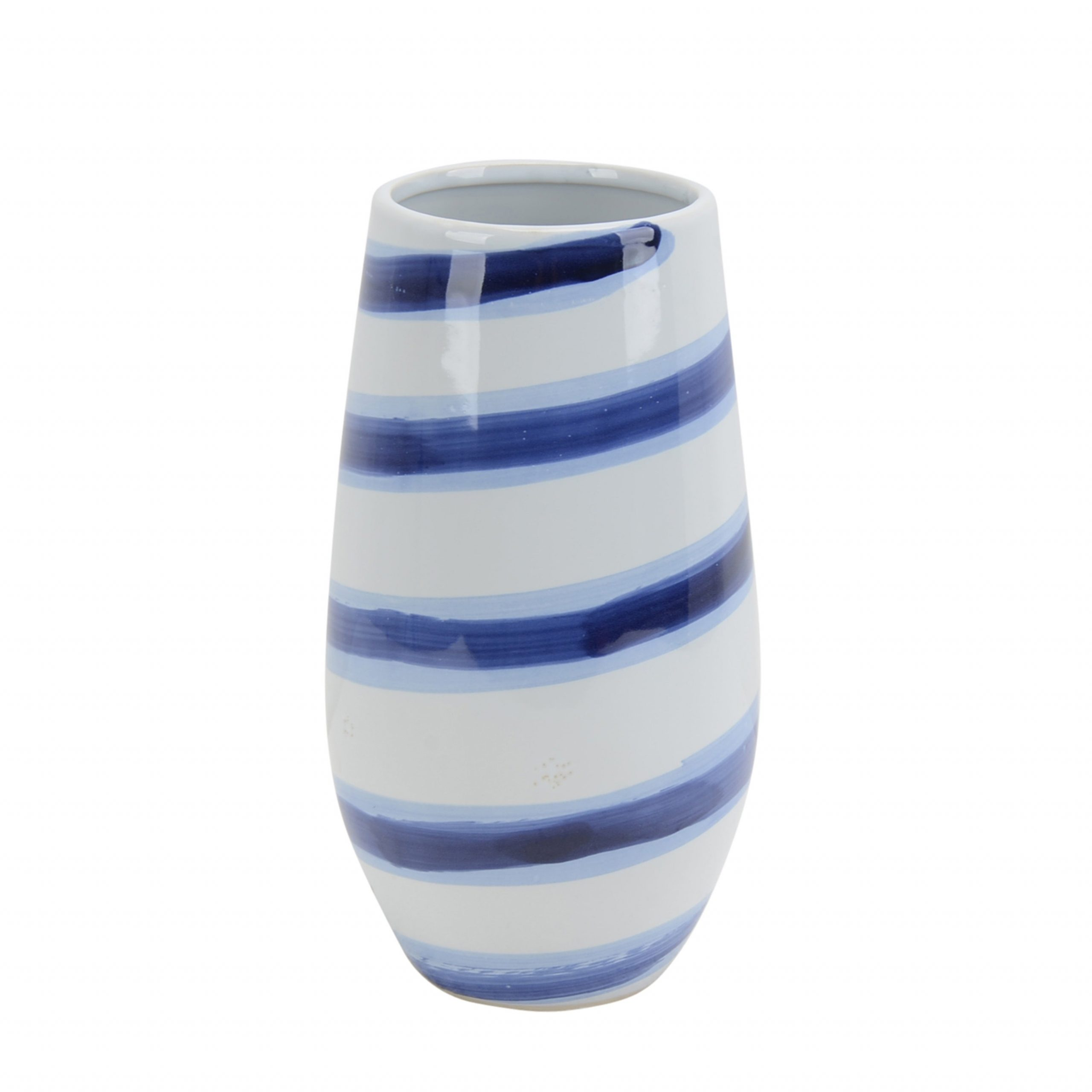 Decorative Ceramic Vase With Striped Design Blue And White throughout dimensions 3500 X 3500