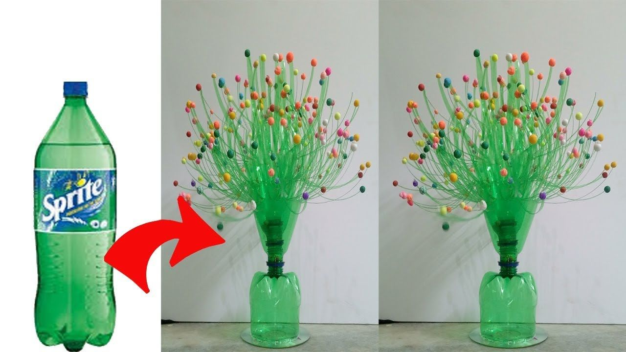 Diy Flower Vase Using With Plastic Bottle Craft Ideas throughout size 1280 X 720