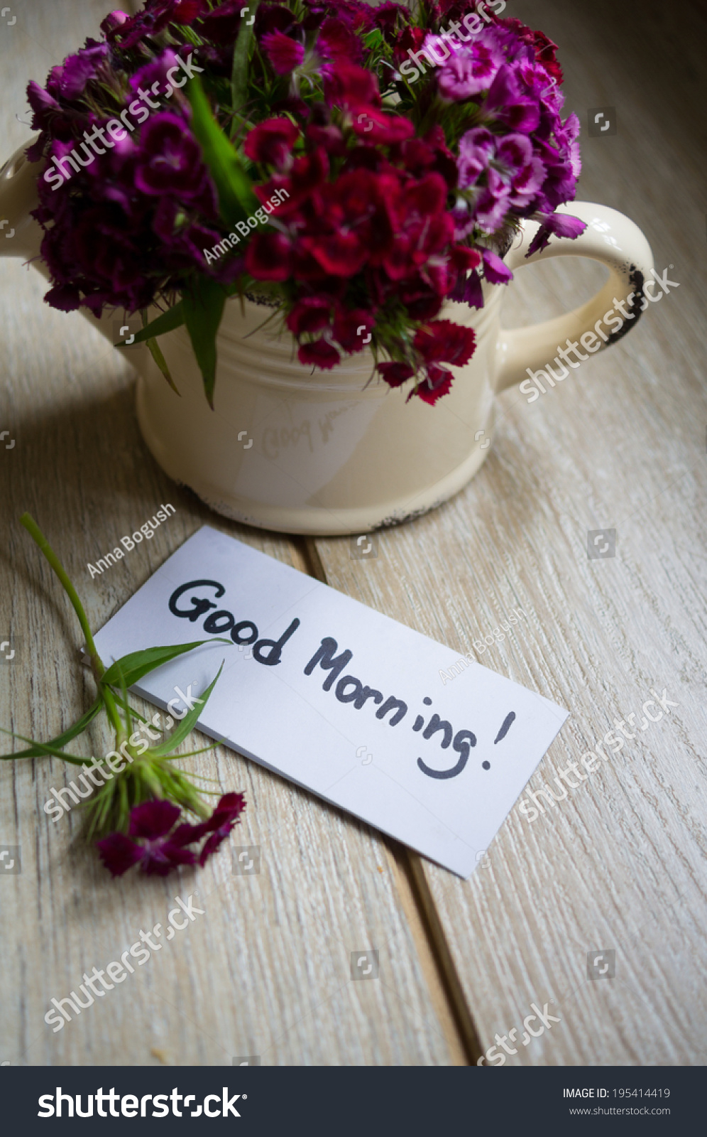 Good Morning Note Flowers Vase Stock Photo Edit Now 195414419 pertaining to dimensions 996 X 1600