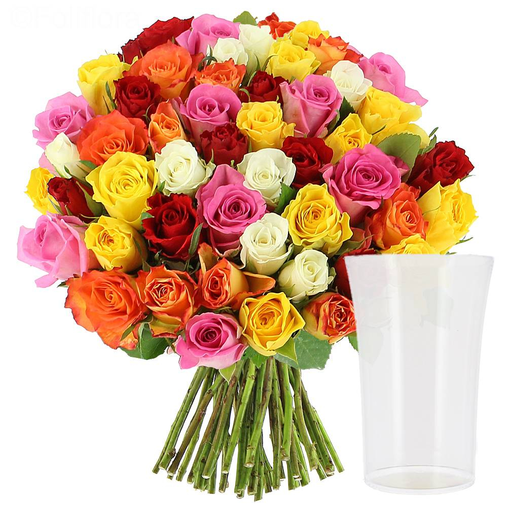 Roses Multicolores Vase Offert within dimensions 1000 X 1000