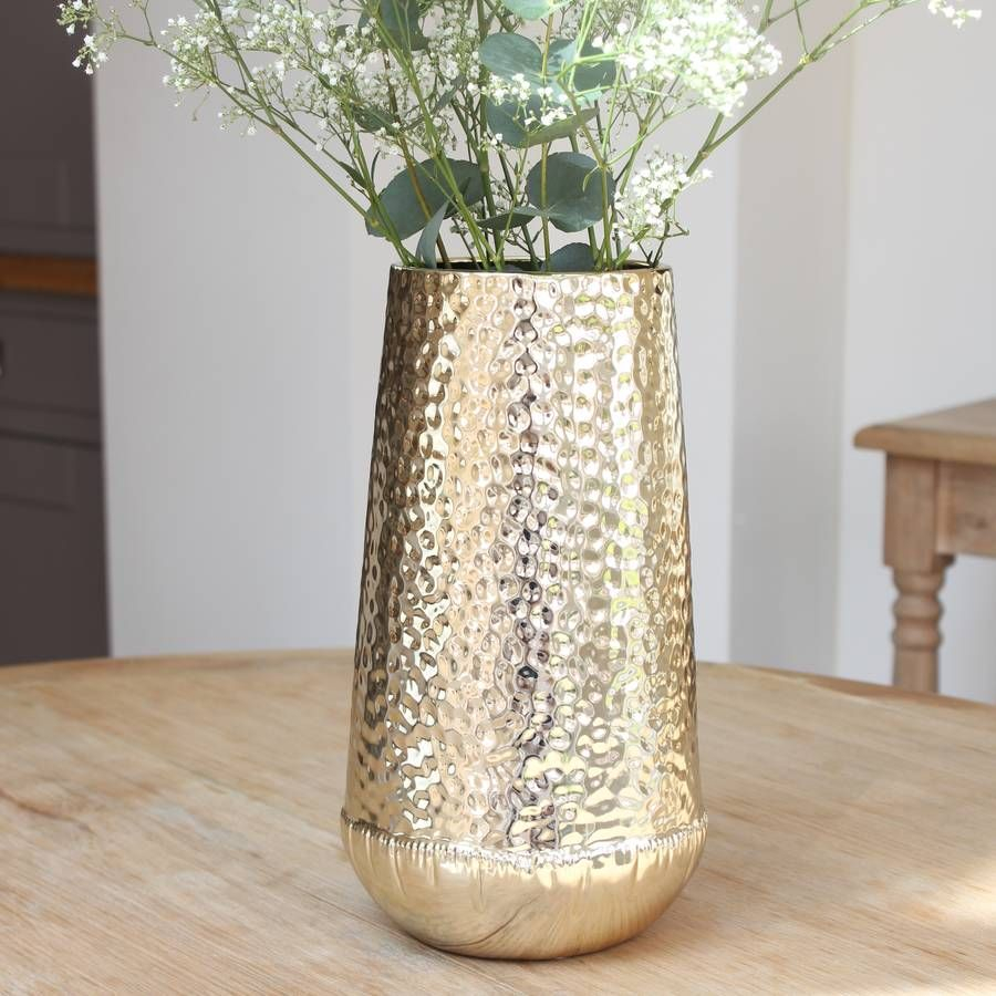Rounded Gold Hammered Vase Vase Gold Vases Gold Home with size 900 X 900
