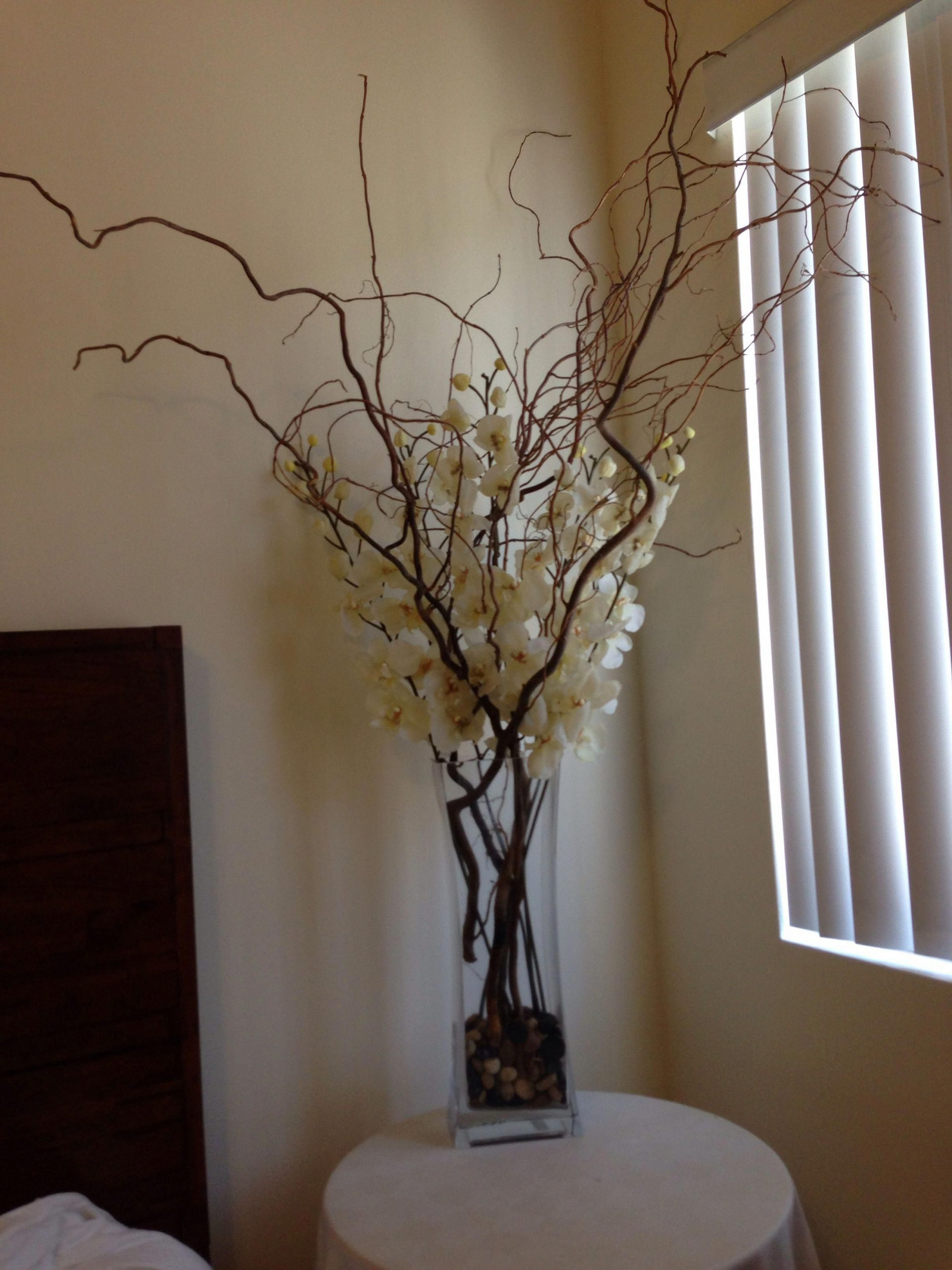 Silk Ivory Orchids With Large Branches In A Tall Rectangular inside proportions 2448 X 3264