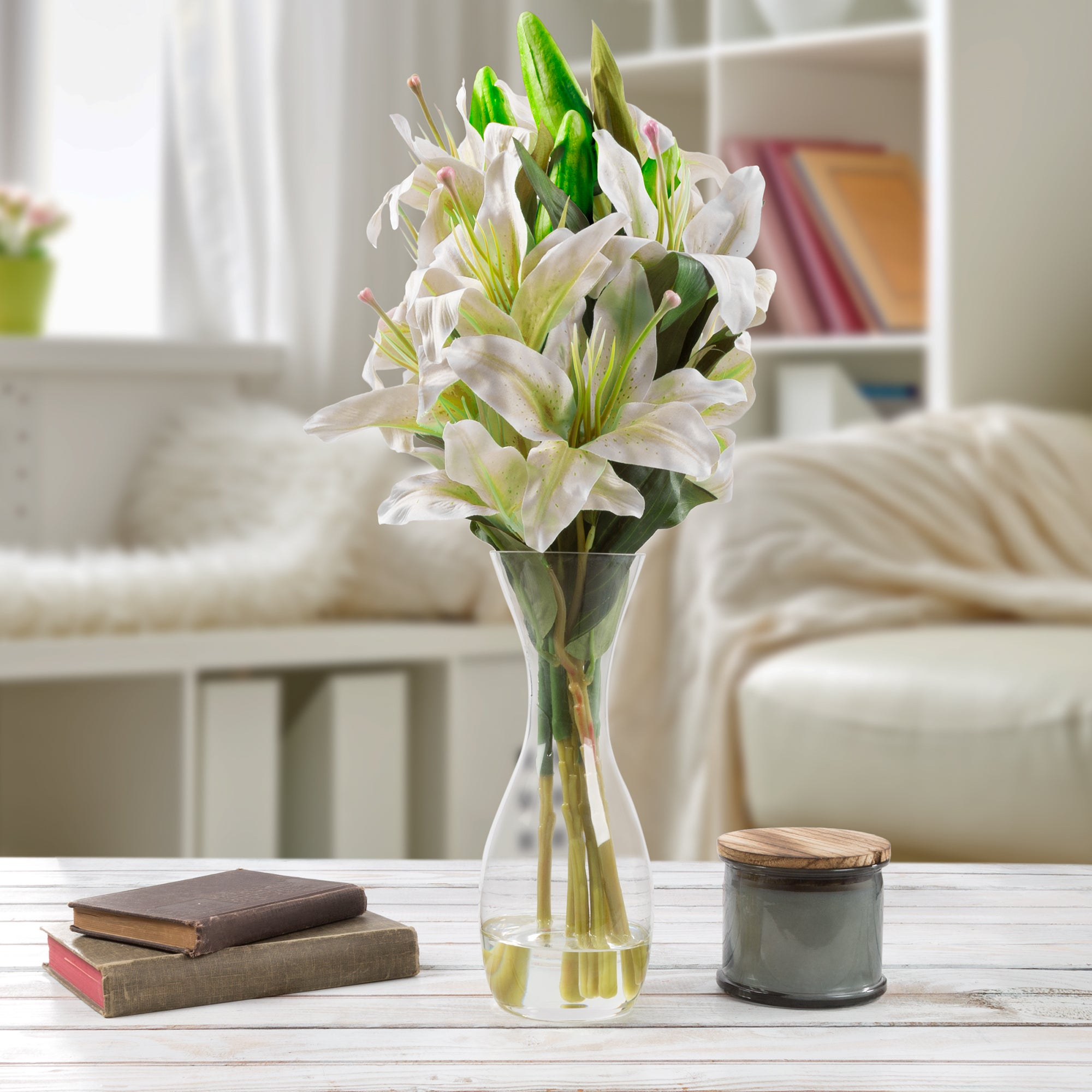 Tall Lily Artificial Silk Floral Arrangement With Vase And Faux Water Pure Garden White within proportions 2000 X 2000