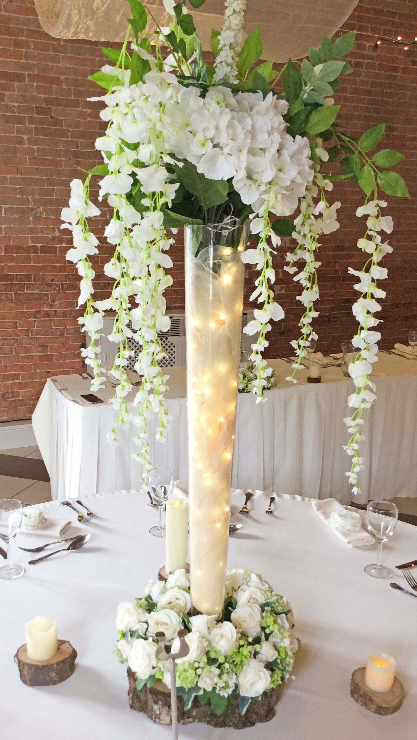 Tall Vase With Wisteria And Lights Wedding Floral with regard to dimensions 1419 X 2513