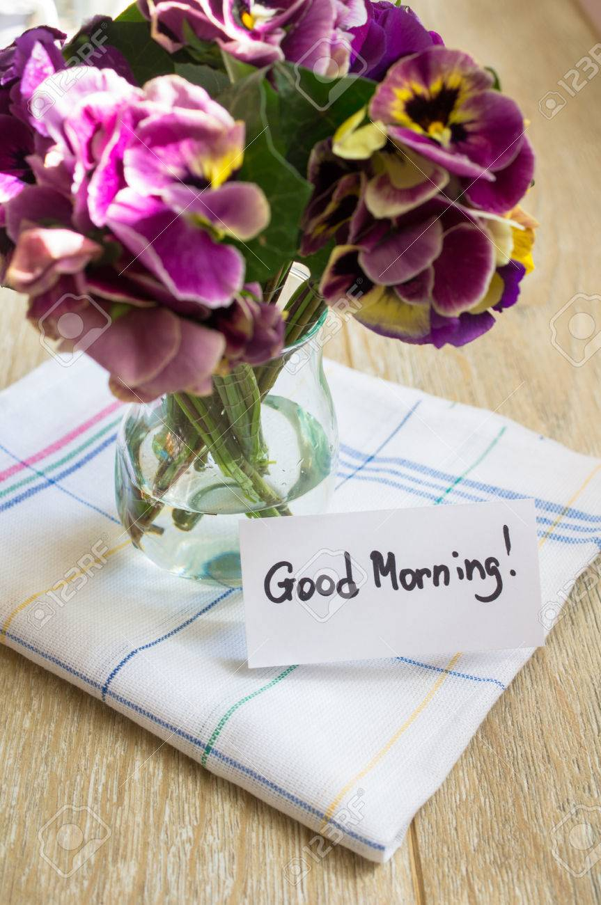 Viola Flowers In A Vase Old Styled Clock And Good Morning Note regarding proportions 863 X 1300