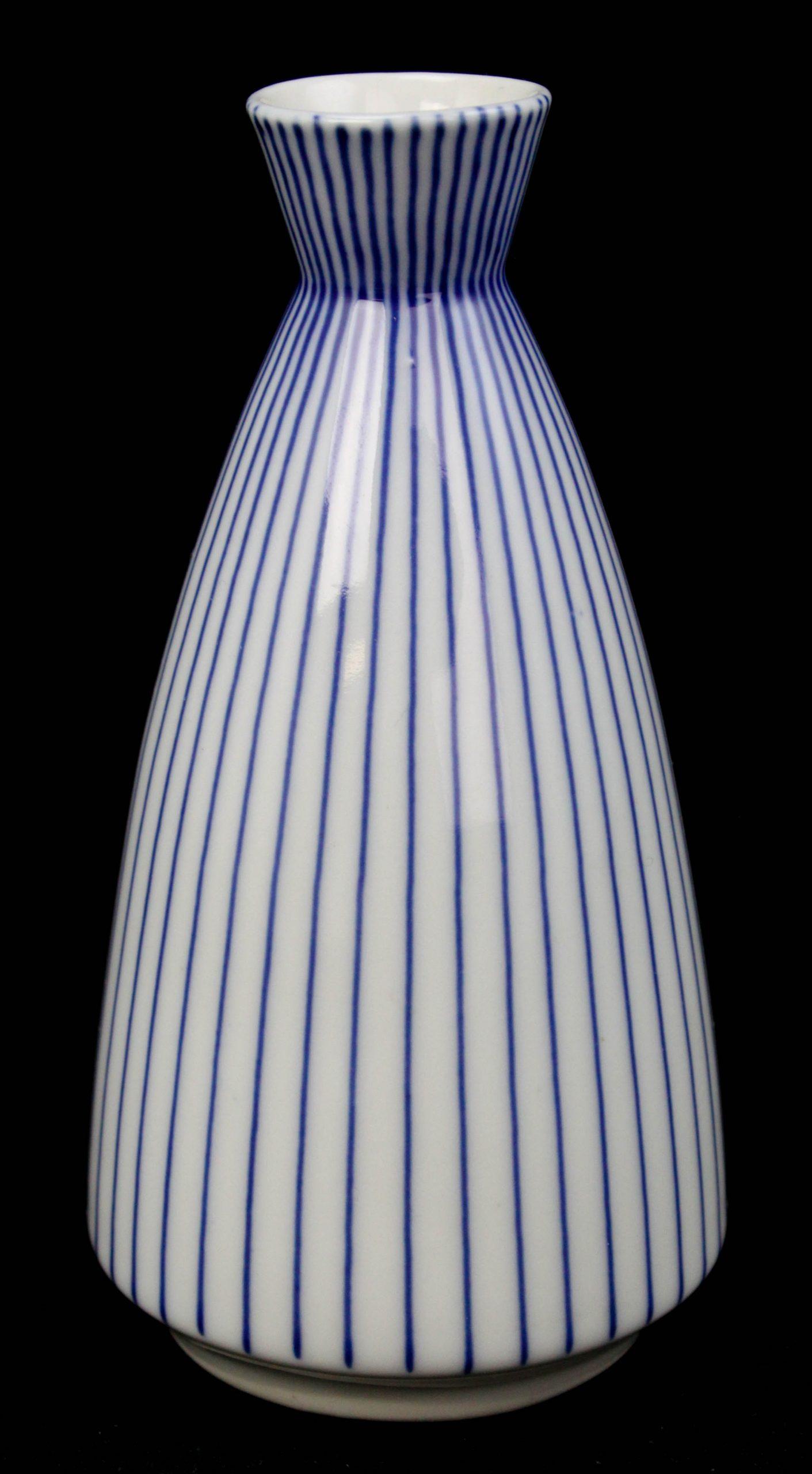 Vtg Modern Design White Vertical Cobalt Striped Porcelain Vase Sake Decanter L3z inside dimensions 2118 X 3844